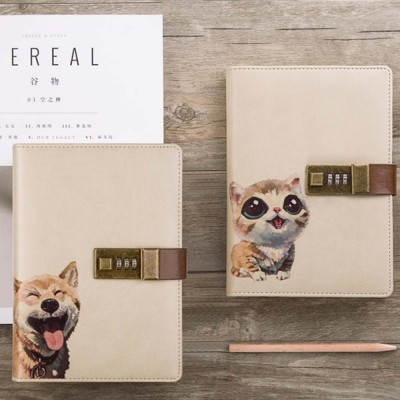 Creative B6 Wired Password Notebook, Simple and Versatile Lock Notebook, with Discolored PU Leather