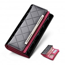 Bright Plaids Embossed Lady Purse Patent Genuine Leather Flip-type Long Purse Card Holder Long Clutch Bag