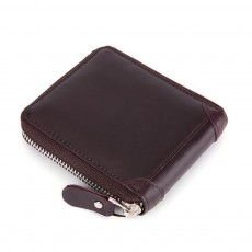 Genuine Leather Business Purse Short Clutch Bag Oxhide Zipper Mini purse Unisex Handbag Card Holder