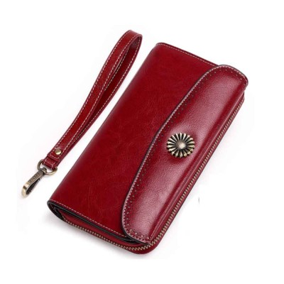 Classical Sunflower Lady Clutch, Genuine Leather Flip-type Purse with Card Holder, Mini Purse Long Clutch Bag Women Accessories