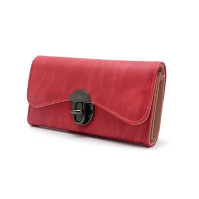Long Clutch Women Creases Purse, Matte PU Leather Buckle Card Holder Elegant Flip-type Clutch Bag