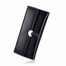 Genuine Leather Folio Card Holder Purse with Solid Oxhide Buckle, Portable Long Clutch Bag