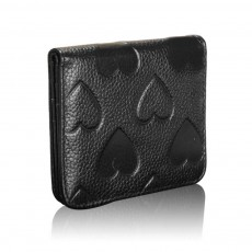 Soft Genuine Leather Purse with Peach Heart Embossed, Oxhide Buckle Short Purse Women Clutch with Card Holder