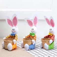 Easter Bunny DIY Handmade Basket, Bamboo Woven Rattan Weaving Basket with Cartoon Design for Storage