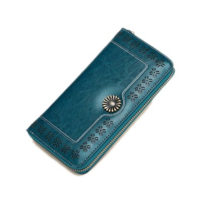 Classical Hollow-out Sunflower Lady Clutch, Genuine Leather Zipper Clutch Pendant Card Holder Purse Long Clutch Bag