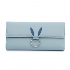 Rabbit Ears Ring Long Purse for Women, Hard PU Leather Macaron Color Buckle Card Holder Long Clutch Elegant Flap Purse