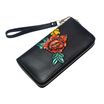 Soft Genuine Leather Purse with Multiple Card Slots, Mini Clutch Zipper Purse Oxhide Buckle Short Clutch Card Holder for Women
