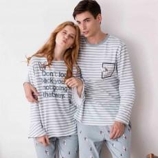 Cotton Long-sleeve Striped Couple Pajamas, Round Neckline Collar Tracksuit Suit for Autumn, Winter 2019