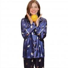 Thin Printed Long-sleeved Trousers Pajamas Set, High-quality Imitation Silk Skin-friendly Tracksuit