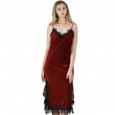 Breathable Soft Gold Velvet Pajamas Ladies Long Lace Sling Slit Nightdress with Bare Back Design for Winter