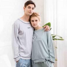 Casual Comfortable Bamboo Cotton Couple Pajamas, Cartoon Printing Pattern Tracksuit Suit