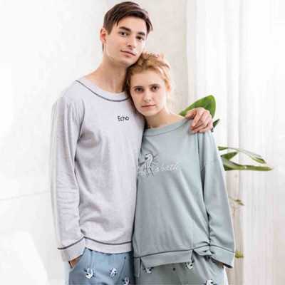 Casual Comfortable Bamboo Cotton Couple Pajamas, Cartoon Printing Pattern Tracksuit Suit