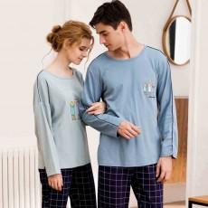 Cartoon Long-sleeved Couple Pajamas, Bamboo Nodular Cotton Round Neckline Collar Tracksuit