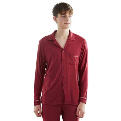 Knit Long-sleeved Pajamas for Men and Women, Soft Texture Cotton Tracksuitwith Bilateral Pocket Design