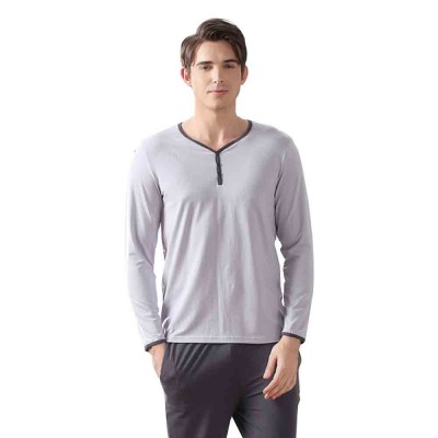 Fashion Y-type Collar Men's Cotton Long-sleeved Pajamas, Contrast Color Comfortable Knit Tracksuit