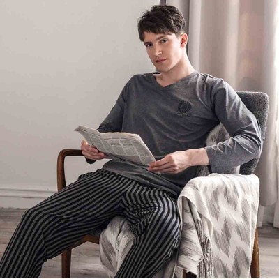 Men's Long-sleeved Striped Pajamas, Mens Casual Loose Thin Tracksuit, with Bilateral Pocket Design