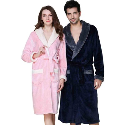 Thickened Long Men's Flannel Pajamas, Classic Lapel Couple Nightgown, with Bilateral Pocket Design