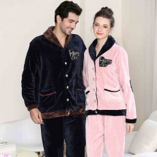 Flannel Fabric Classic Lapel Couple Pajamas, Soft and Comfortable Tracksuit Suit for Men and Women, Two-piece Suit