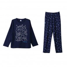 Round Neckline Collar Couple Long-sleeved Pajamas, Cotton Fabric Casual Tracksuit Suit