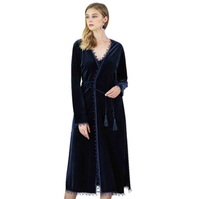 Soft Velvet Fabric Robe, Ladies Long Thick Pajamas, with Sexy V Collar and Point Around Lace Design