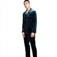 Men's Long-sleeved Pajamas Suit, Velvet Fabric Sleepwear for Men Two-piece Winter, Autumn 2019