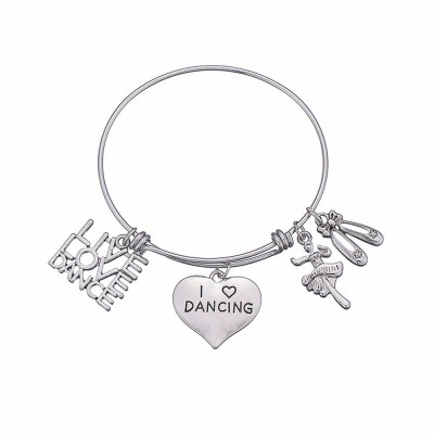 Simple Lettering Women Bracelet, Plated Stainless Steel Fashion Jewelry Accessories Elegant Adjustable Bangle Birthday Gift for Dancer