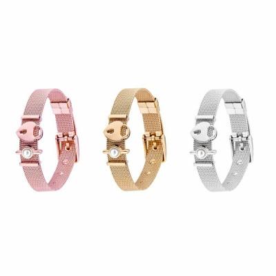 Lady Key Heart Padlock Mesh Bracelet, Charm Dress Bracelets Valentines Gift for Girlfriend