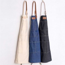 Dirty Resistant Cotton Apron with Pocket, PU Leather Strap, Northern Europe Industry Style Cotton Apron for Baking Cooking