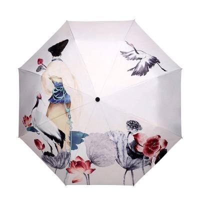 UV-proof Cartoon Umbrella for Both Sun and Rain, Creative 3 Folding Umbrella Allows for Customization