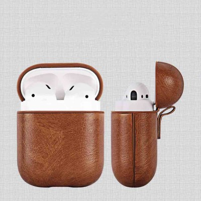 Luxury Leather Airpods Cover Strap Shockproof for Bluetooth Earphones, Minimalist Airpods Sleeve Pouch Cover Case with Hanging Ring
