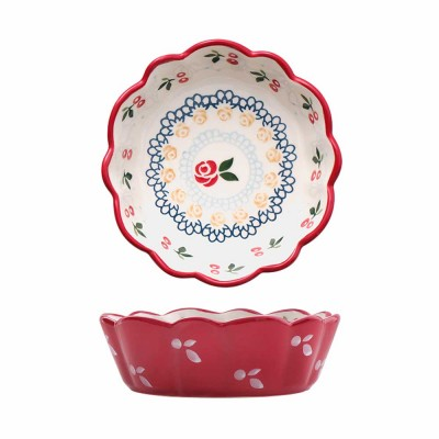 Creative Hand Painted Cherry Little Ceramic Bowl, Snack Nest Bowl for Household Tableware Europe Style Fruit Salad Dessert Bowl
