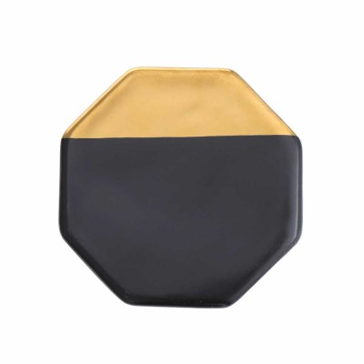 Gold Marble Coasters Ceramic Coaster Tea Cup Pad, Northern Europe Style Non-slip Heat Insulation Coaster for Household
