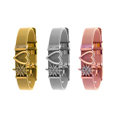 Heart Shaped Rhinestone Mesh Women's Bracelet, Plated Stainless Steel Creative Couple Bracelets Valentines Gift for Girlfriend