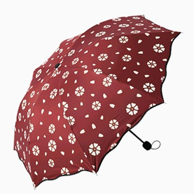 Creative Water Color Changing Umbrella, Vinyl Three-Fold Sunshade Sun Umbrella, Anti-UV Sun Umbrella