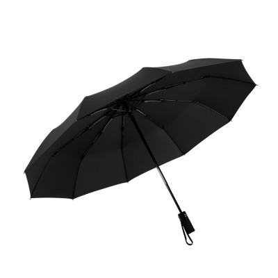 High Quality Three Folding Umbrella Full-automatic Black Vinyl and Pongee Cloth Umbrella Both Sun and Rain for Business Men