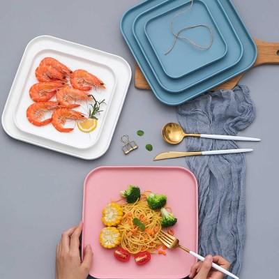 Ceramic Dish Northern Europe Style Flat Plate Fruit Steak Vegetable Cake Square Plate for Household Restaurant