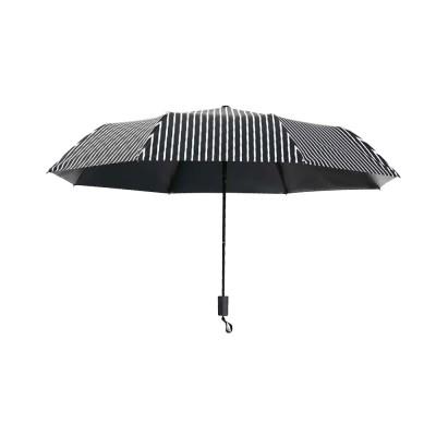 New Style Three Folding Umbrella Fashionable Black and White Stripe Vinyl Sun Protection Umbrella UV Proof 2019