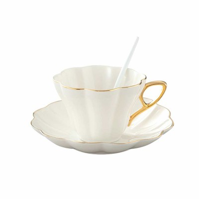 European Style Coffee Cup With Gold Rim China Coffee Cup and Saucer Set High Grade Simple Afternoon Flower Tea Set