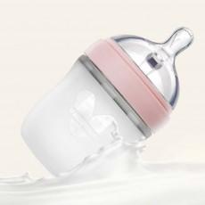 Baby Silicone Milk Bottle, Newborn Wide Mouth Milk Bottle, B-cup Breast Milk Bottle with Handle Straw