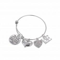 Heart Shape Sister Lettering Women Bracelet, Plated Stainless Steel Bangle Elegant Charm Bracelets Best Gifts