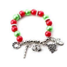 DIY Christmas Tree Snowman Bracelet Plated Stainless Steel & Alloy Beads Bangle Best Christmas Gift