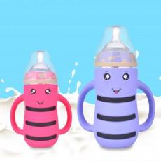 Baby Anti-flatulence Wide-bore Glass Bottle, Anti-drop with Straw Children's Drinking Bottle