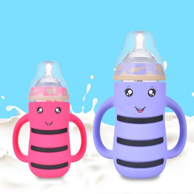 Baby Anti-flatulence Wide-bore Glass Bottle, Anti-drop with Straw Children's Drinking Bottle