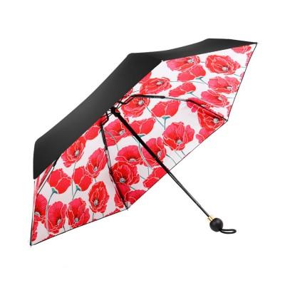 High Quality Sun and Rain 5 Folding Umbrella New Style Small Size Black Vinyl Sun Umbrella for Cute Lady Travelling Girls