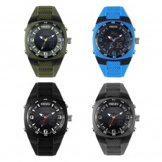 Dual Display Classics Watches for Men, Fashionable Male Watch Large Dial Plate Watches with Silicone Strap