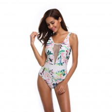 Womens One Piece Swimsuits Mesh V Neck Monokini Bathing Suits Tummy Control Floral Printed Swimwear