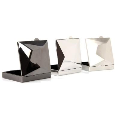 Square Pill Box Fashion Metal Diamond Stainless Steel Pill Case Quartile Pill Organizer Portable Tablet Holder