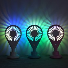 New-style Dual Version Mini Fan for Outdoor Plug In Portable Fan Handheld 2019 Rainbow Color Battery-Operated Nightlight Fan
