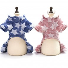 Velveteens Four-legged Dog Clothes with Stars, Teddy Doggies U Style Hoddie Warm Cotton Suit in Autumn and Winter