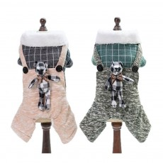 Thickened, Warm Cotton Clothes for Dogs in Winter, New-style Plaid Rabbit Four-legged Dog Clothes with Suspenders, Small Size